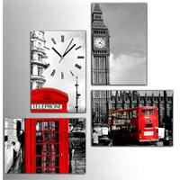 Tictac Londra - 4 Parçalı Kanvas Saat