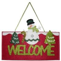 Welcome Yazılı Kardan Adam Keçe Kapı Süsü