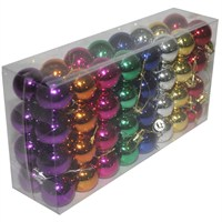 64 Adet Kutulu Karışık Renklerde Yılbaşı Cici Top Süsü 3 Cm