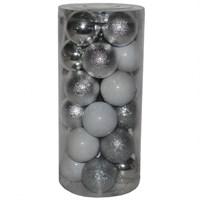 Farklı Desenlerde 24 Lü Gümüş Renk Yılbaşı Cici Toplar 6 Cm