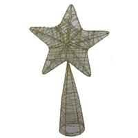 Yılbaşı Simli Yıldız Ağaç Tepeliği 23 Cm Sarı