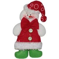 Düğmeli Elbise Giymiş Kardan Adam Yeniyıl Süs