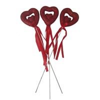 Kurdelalı Çubuklu Delikli Kırmızı Kalp Süs