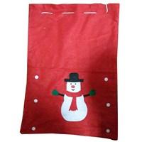 Noel Baba Torbası Kırmızı Kardan Adamlı