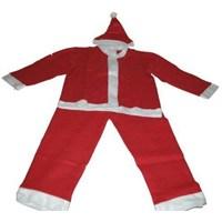 Erkek Çocuk Elyaf Noel Baba Kostümü 9-10 Yaş