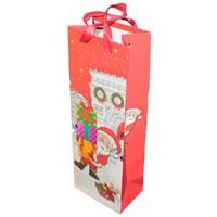 Kırmızı Noel Baba Desenli Kırmızı İçecek Çantası Karton