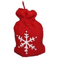 Kar Motifli Kırmızı Hediye Poşeti Mumu