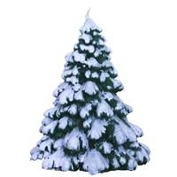 Kar Efekti Verilmiş Yeşil Çam Ağacı Mum