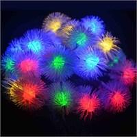 Puzmo Kar Taneli Tüylü Görünümlü Renkli 28 Li Ampüllü Led Işık 4 Metre