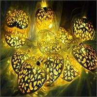28 Ampüllü Sarı Kalpli Ekleme Soketli Yılbaşı Işığı Led