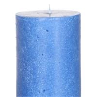 Altıncı Cadde Beton Görünümlü Silindir Mum Kobalt Mavi 7,5X19 Cm