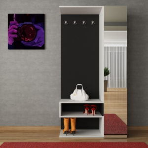 decortie goro portmanto beyaz-siyah
