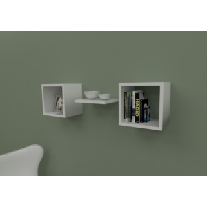 navdecoration amon duvar rafı ve kitaplık - ceviz - beyaz