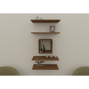navdecoration sicilya duvar rafı ve kitaplık - ceviz - ceviz