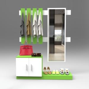 yurudesign silver vestiyer portmanto ayakkabılık - yeşil