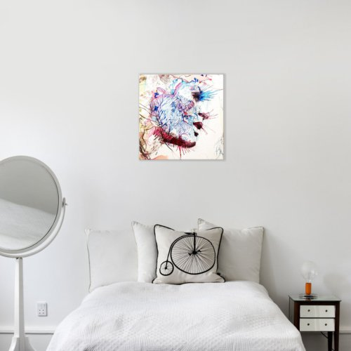 Albitablo Genç Kadın ve Çiçekler Kare Tek Parça 50 x 50 cm