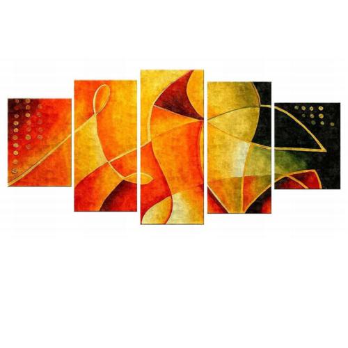 Tictac Design 5 Parçalı Kanvas Tablo Turuncu Desen