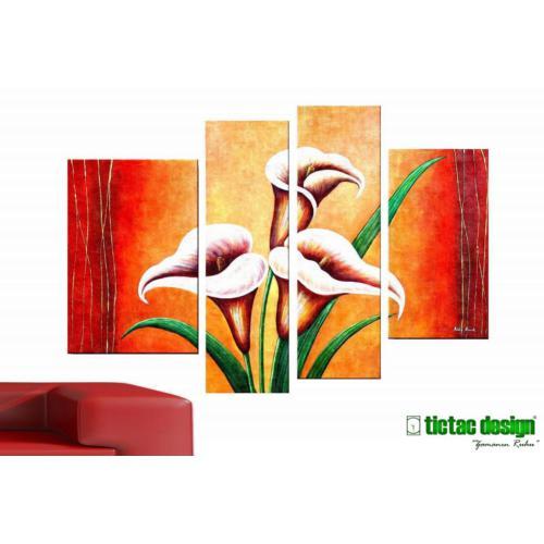 Tictac Design 4 Parçalı Kanvas Tablo Turuncu