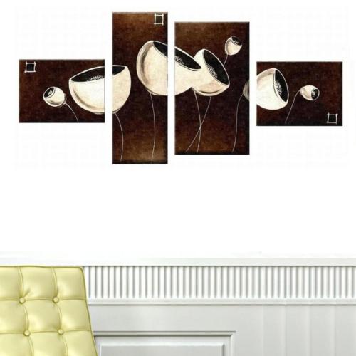 Tictac Design 4 Parçalı Kanvas Tablo Beyaz Çiçek