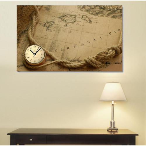 Tictac Design Kanvas Tablo Saat - Harita1
