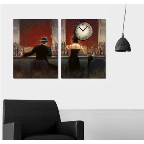Tictac Design 2 Parçalı Kanvas Tablo Saat - Red Cafe