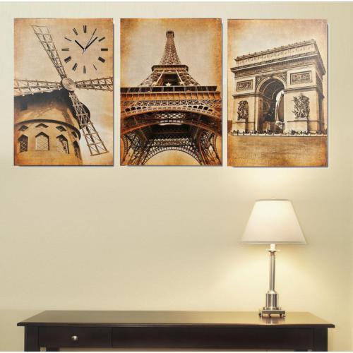 Tictac Design 3 Parçalı Kanvas Tablo Saat - Paris2