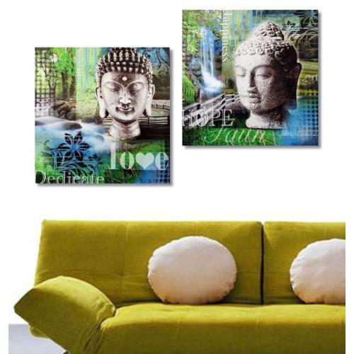 Tictac Design 2 Parçalı Kanvas Tablo - Buddhalar