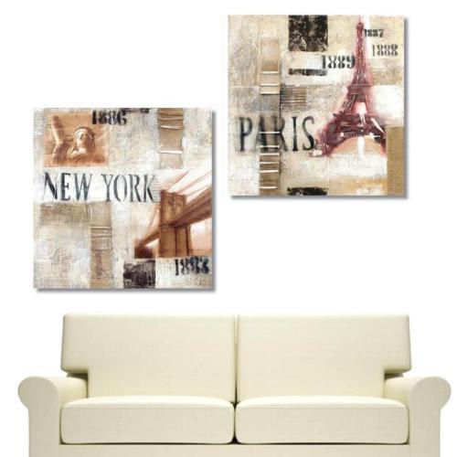 Tictac Design 2 Parçalı Kanvas Tablo - NY & Paris