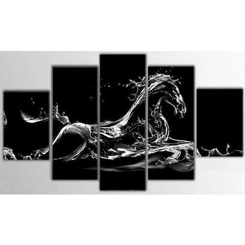 Tictac Design 5 Parça Kanvas Tablo - Atlar