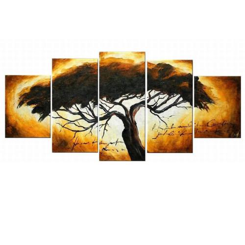 Tictac Design 5 Parçalı Kanvas Tablo Ağaç-2