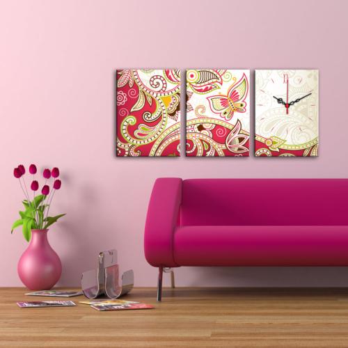 Decostil 3 Parçalı Kanvas Saat - Pembe Floral Desen
