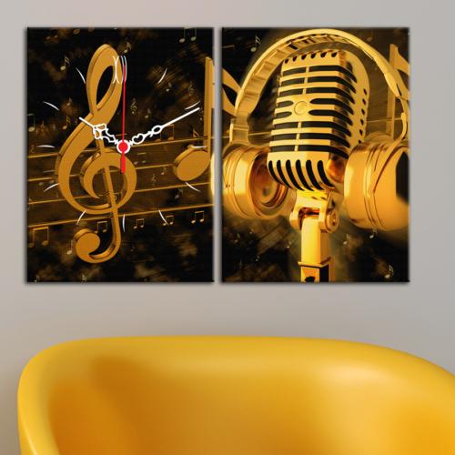 Decostil 2 Parçalı Kanvas Saat Altın Mikrofon