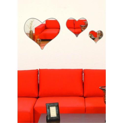 M3 Decorium Üçlü Kalp Dekoratif Ayna