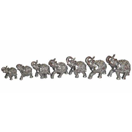 Atadan Dekoratif 7 li Fil Süs-Gümüş