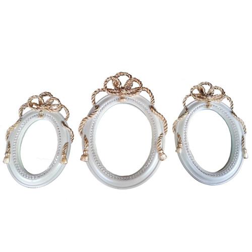 Gold Dekor 3'lü Altın Varaklı Sedef Renkli Ayna -2