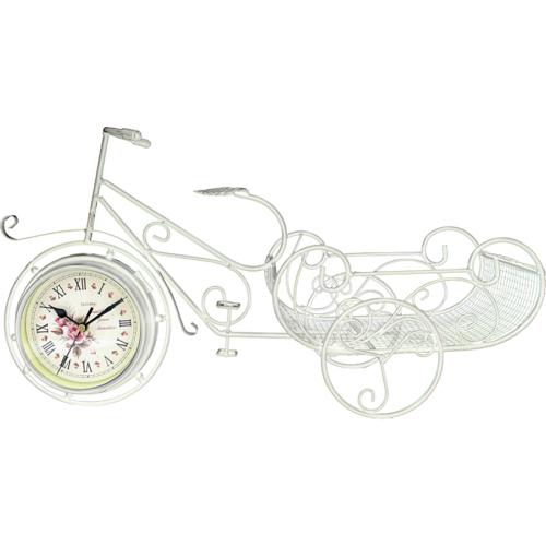 Gold Dekor Ferforje Geniş Sepetli Bisiklet Saat Beyaz