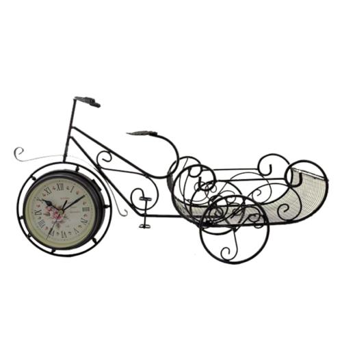 Gold Dekor Ferforje Geniş Sepetli Bisiklet Saat Siyah