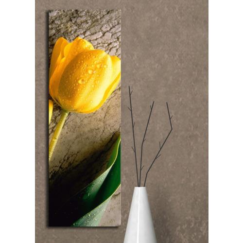 Mania Sarı Lale Kanvas Tablo 30x90 cm