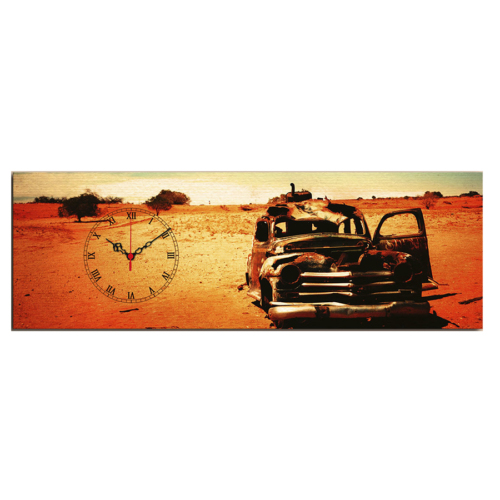 Mania Hurda Araba 30x90 cm Kanvas Saat