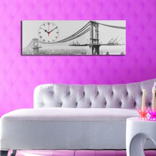 Mania Köprü Manzarası 30x90 cm Kanvas Saat