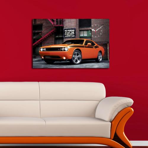 Mania Turuncu Araba 45x70 cm Kanvas Saat