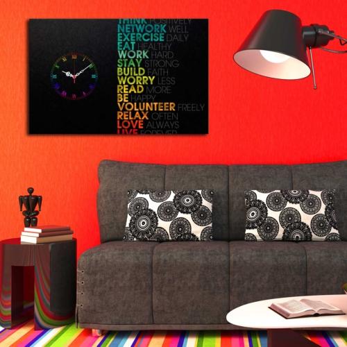 Mania Siyah Baskı Yazılar 45x70 cm Kanvas Saat