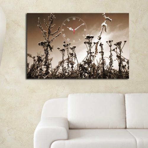 Mania Beyaz Çiçekler 45x70 cm Kanvas Saat