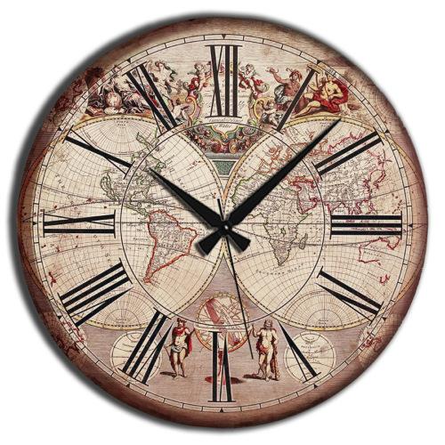 Frank Ray 60 cm Mdf Duvar Saati - Dünya Haritası