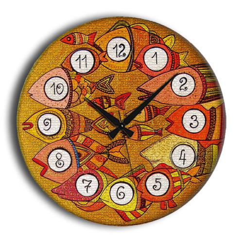 Frank Ray 60 cm Balık Rakamlı Mdf Duvar Saati