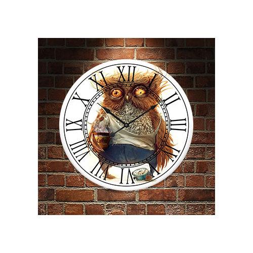 Frank Ray 60 cm Baykuş Roma Rakamlı Mdf Duvar Saati