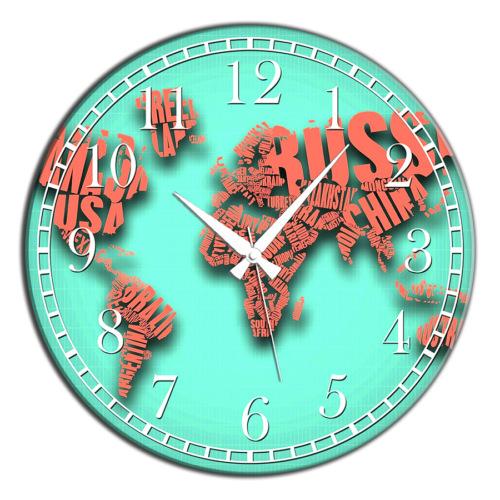 Frank Ray 60 cm MDF Wall Clock Turkuaz Dünya Desen