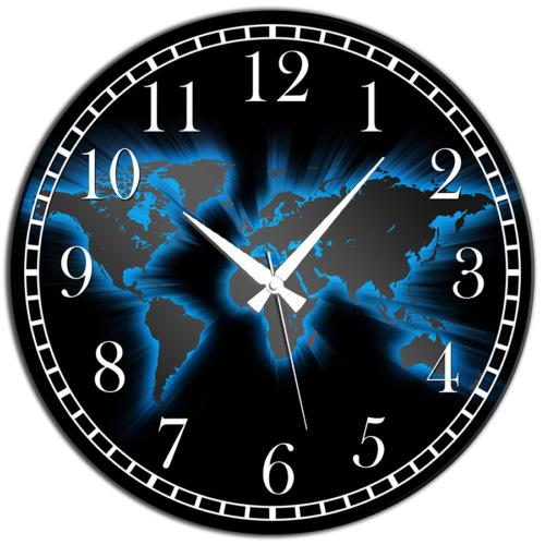 Frank Ray 60 cm MDF Wall Clock Siyah Dünya Desen