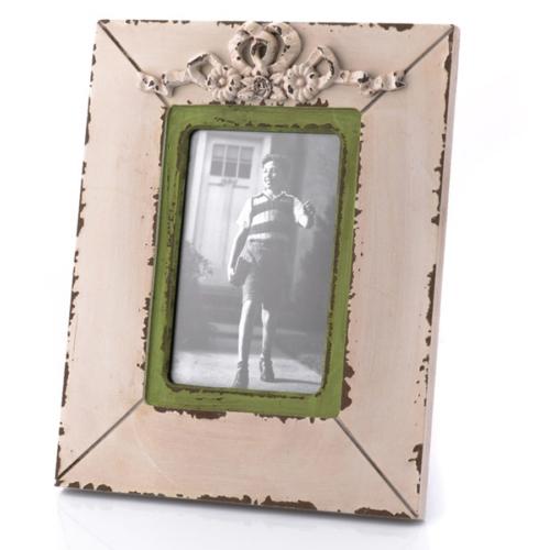 Porio Yeşil Kenarlı Beyaz Masa Çerçevesi 26x21