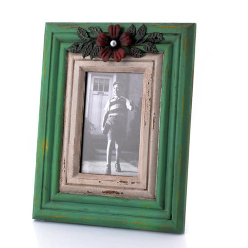 Porio Yeşil-Beyaz Çiçek Detaylı Masa Çerçevesi 28x23